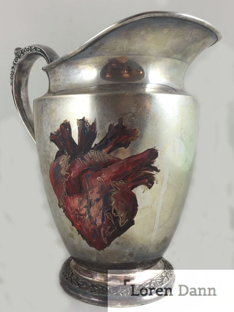 """Awakening Heart"" Anatomical Heart on Vintage Sterling Silver Water Pitcher"