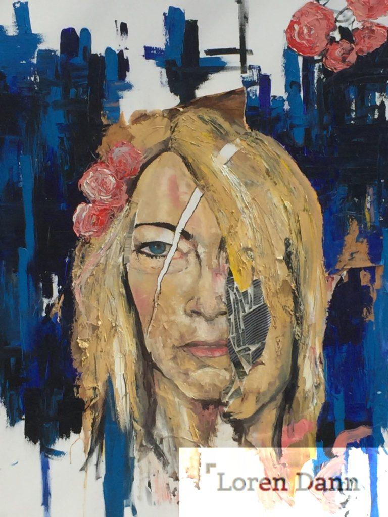 """""""Kimlet Gordon"""" 42"""" x 36"""" Oil on canvas with mirror"""