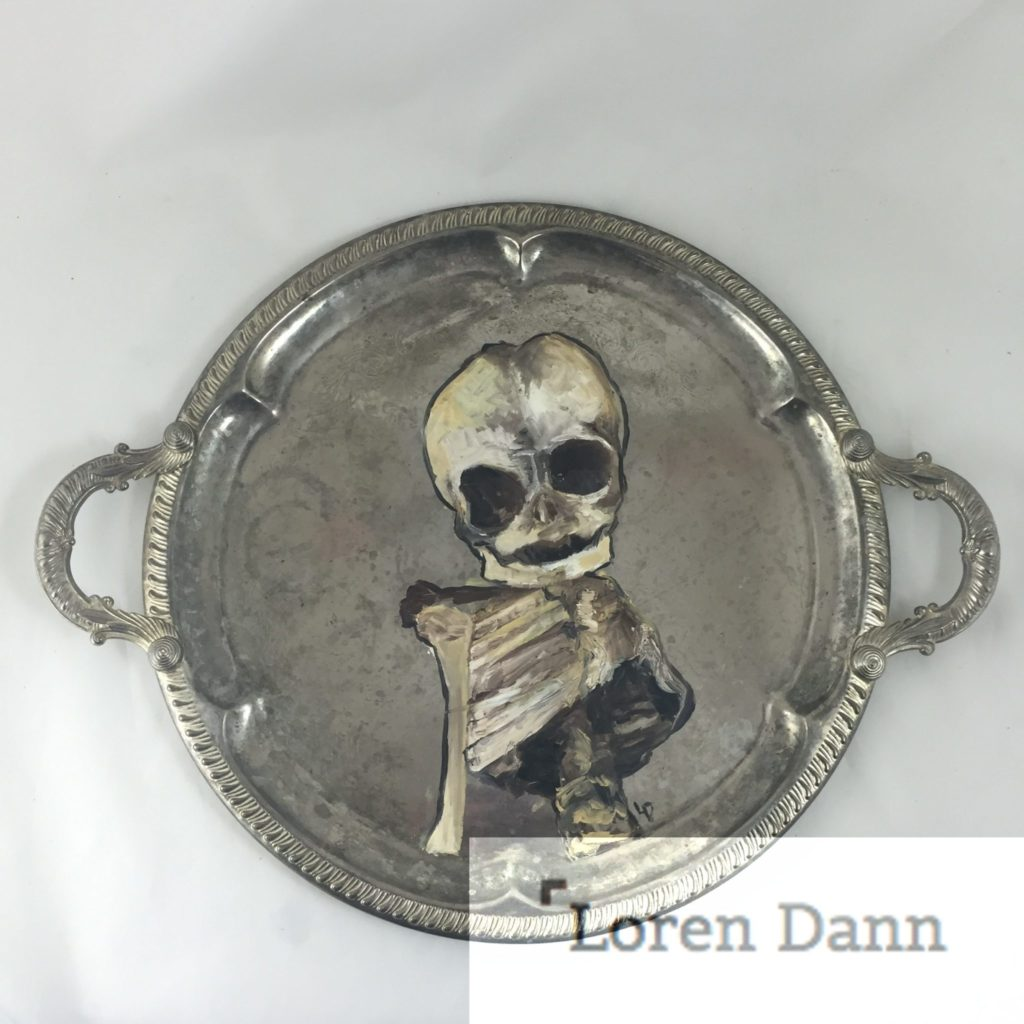 """Child"" Anatomical child skeleton on Vintage Gimbels serving tray"